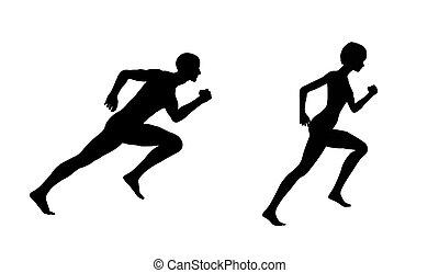 silueta, mujer hombre, corra