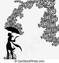 silueta, mulher, guarda-chuva, unde