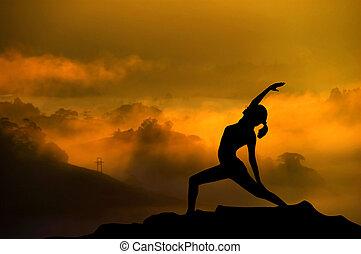 silueta, mulher, ioga