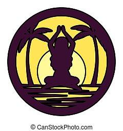 silueta, mulher, prática, posição, ioga, praia