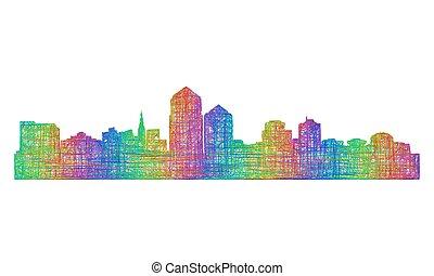 silueta, -, multicolor, albuquerque, skyline, arte, linha