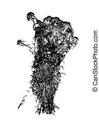 silueta, musgo, hojas, aislado, sphagnum, fondo negro, ...