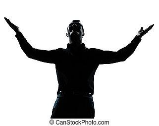silueta, negócio, braços, um, estendido, feliz, homem