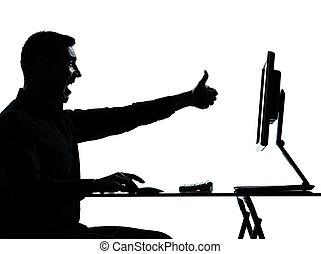 silueta, negócio, computando, um, computador, homem