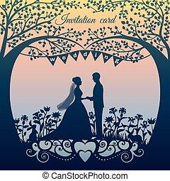 silueta, noivo, noiva, convite, casório, cartão