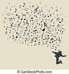 silueta, notas, vario, musical