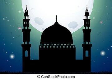 silueta, noturna, mesquita, tempo
