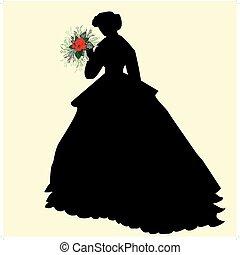 silueta, novia, negro, sostener las flores, rojo