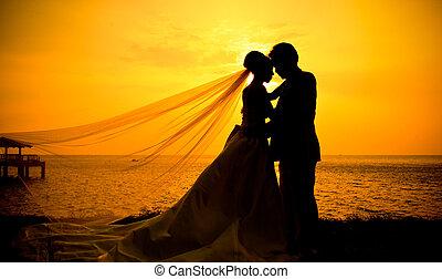 silueta, o, dvojice, od vidět velmi rád, v, západ slunce