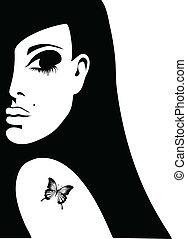 silueta, o, jeden, manželka, s, jeden, čepobití, o, jeden, motýl, dále, ji, plece, vektor, ilustrace