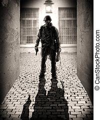 silueta, o, jeden, nebezpečný, válečný, muži
