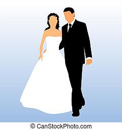 silueta, o, nevěsta i kdy pacholek
