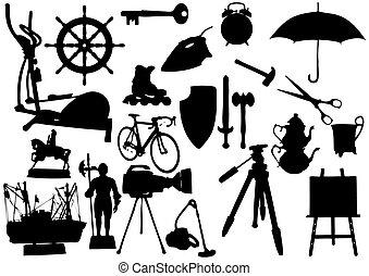 silueta, objetos, ligado, um, fundo branco