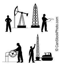 silueta, oilman, plano de fondo, en, infraestructura
