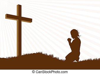 silueta, oração
