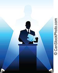 silueta, orador, business/political, plano de fondo