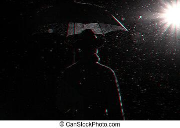 silueta, oscuridad, hombre, impermeable, paraguas, calle, sombrero, lluvia, debajo