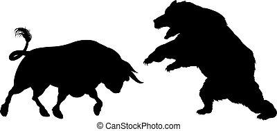 silueta, oso, contra, toro