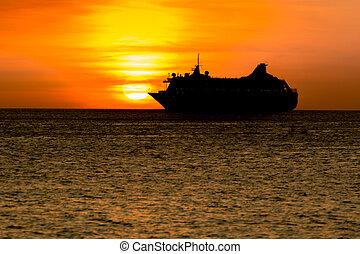 silueta, pôr do sol, bote