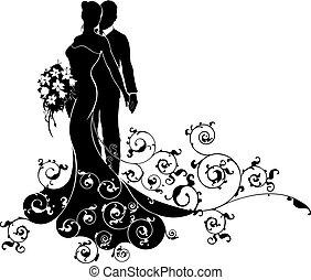 silueta, padrão, noivo, noiva, vestido casamento