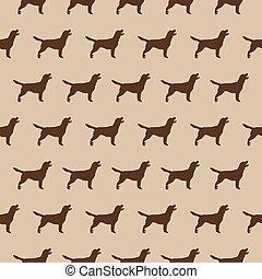 silueta, padrão, seamless, experiência bege, cachorros