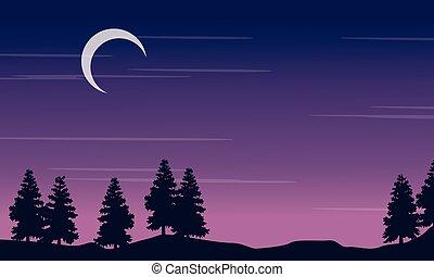 silueta, paisaje, árbol, con, luna, por la noche
