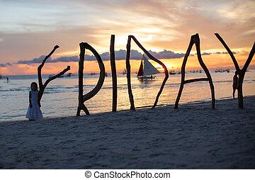 silueta, palabra, viernes, hecho, ??of, madera, en, isla de...