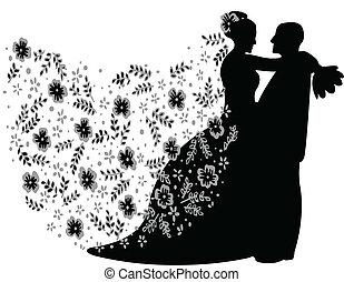 silueta, par casado, apenas