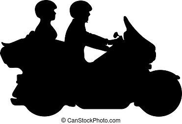 silueta, par, ilustração, vetorial, motocicleta, montando