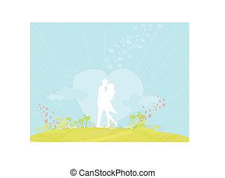 silueta, pareja, en, playa tropical