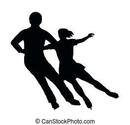 silueta, pareja, hielo, vuelta, patinador, lado