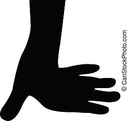 silueta, parte, corporal, mão, vetorial