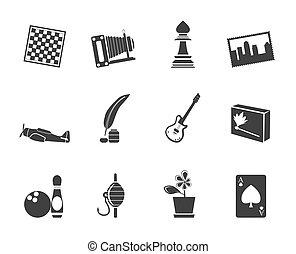 silueta, passatempo, lazer, ícones