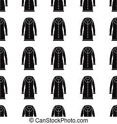 silueta, patrón, seamless, ilustración, abrigoligero, fondo., vector, diseño, plano de fondo, elegante, negro, repetir, texture., ropa