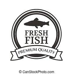 silueta, peixe, logotype, vetorial, monocromático, redondo