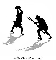 silueta, pelea, primitivo, dos, por