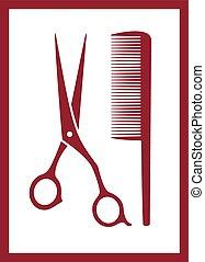 silueta, -, pente cabelo, tesouras, cuidado, ícone