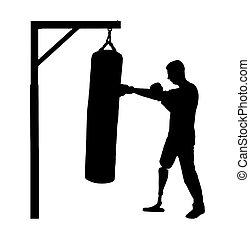 silueta, perna, boxe, acoplado, prótese, incapacitado,...