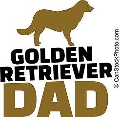 silueta, perro cobrador, dorado, perro, papá