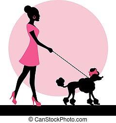 silueta, perro, hembra