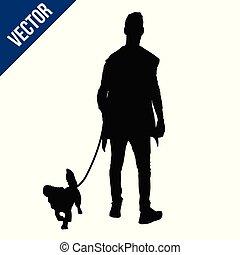 silueta, perro, hombre