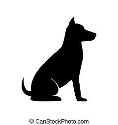 silueta, perro, sentarse