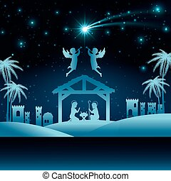 silueta, pesebre, feliz navidad, aislado, diseño