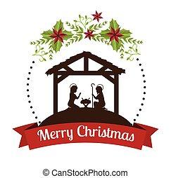 silueta, pesebre, feliz navidad, diseño, diseño