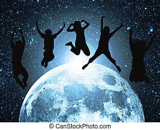 silueta, pessoas, abstratos, espaço, lua, pular
