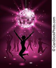 silueta, pessoas, bola, dançar, discoteca, fundo, partido, brilhar, night-club
