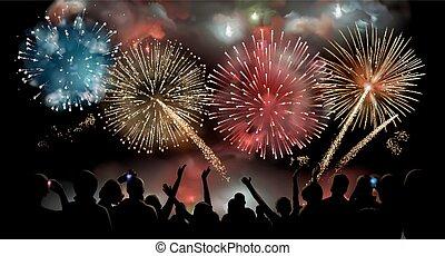 silueta, pessoas, exposição, fogos artifício, vetorial,...
