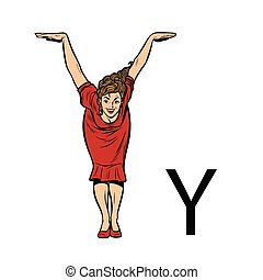 silueta, pessoas negócio, letra alfabeto, y, wye.