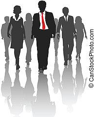 silueta, pessoas negócio, passeio, recursos humanos