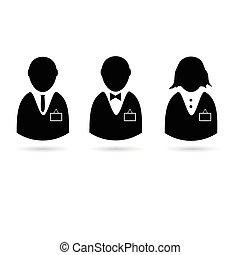 silueta, pessoas, vetorial, cartão identificação, ícone